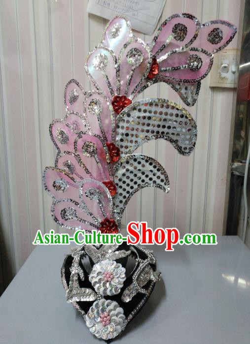Chinese Classical Dance Pink Leaf Hair Accessories Traditional Folk Dance Yanko Dance Headwear for Women