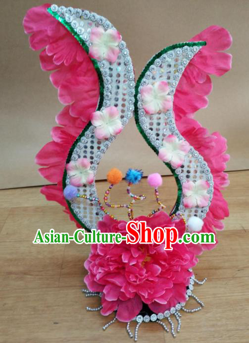 Chinese Classical Dance Hair Accessories Traditional Folk Dance Pink Flowers Headwear for Women