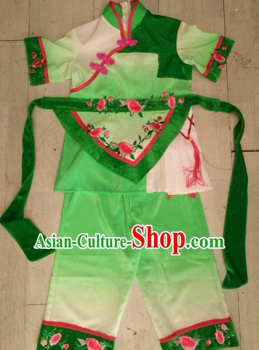Traditional Chinese Classical Dance Costume, China Folk Dance Yanko Green Clothing for Kids