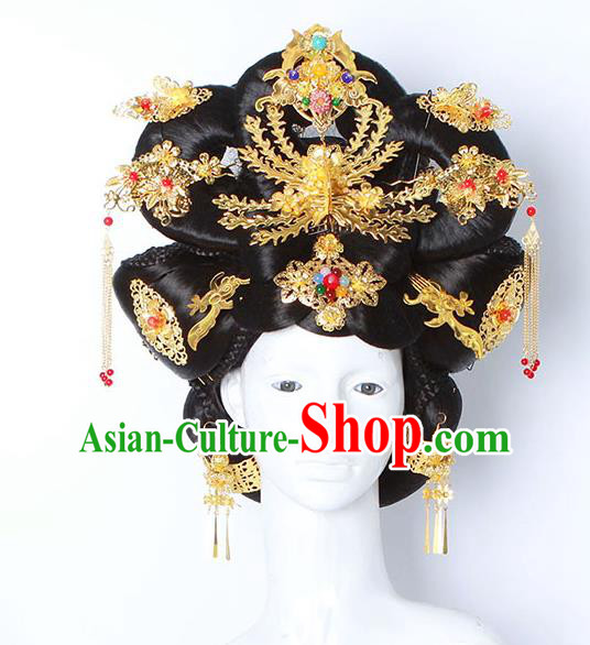 Chinese Ancient Hair Accessories Imperial Consort Wig and Phoenix Coronet Hairpins Traditional Palace Lady Headwear for Women