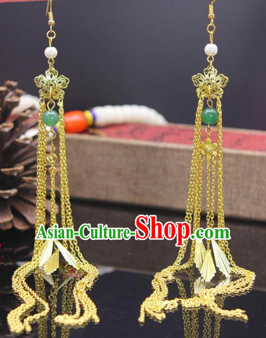 Chinese Traditional Classical Accessories Long Tassel Earrings Headwear for Women