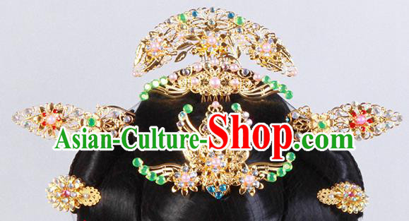 Chinese Ancient Beijing Opera Hair Accessories Wig and Hairpins Complete Set Traditional Palace Headwear for Women