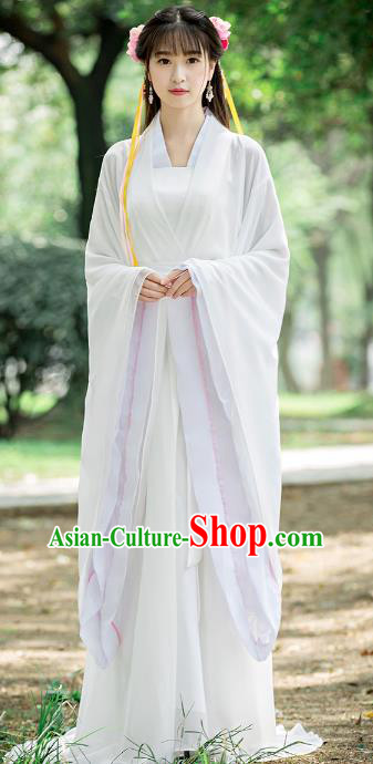 Traditional Chinese Ancient Palace Princess Costume Song Dynasty Swordswoman White Hanfu Dress for Women