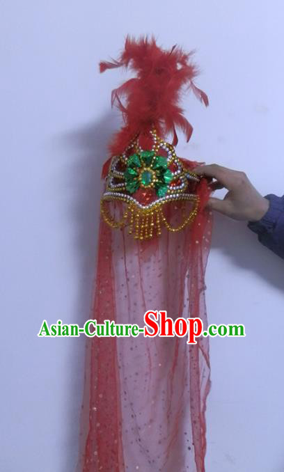 Chinese Traditional Folk Dance Hair Accessories Uyghur Nationality Dance Headwear Red Feather Hats for Women