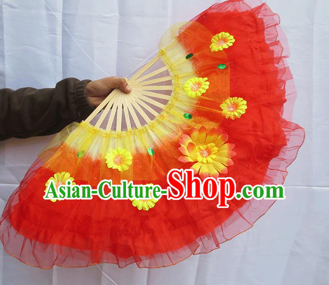 Chinese Traditional Folk Dance Folding Fans Classical Yangko Dance Red Silk Fans for Women