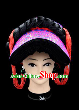Chinese Traditional Yi Nationality Hair Accessories Yi Ethnic Minority Rosy Hats Headwear for Women