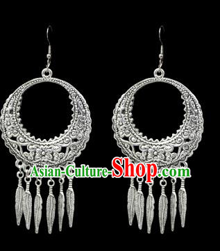 Chinese Traditional Yi Nationality Accessories Sliver Earrings, Hmong Female Folk Dance Ethnic Eardrop for Women