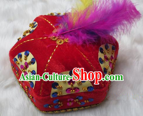 Chinese Traditional Folk Dance Hair Accessories Uyghur Nationality Dance Headwear Red Hats for Men