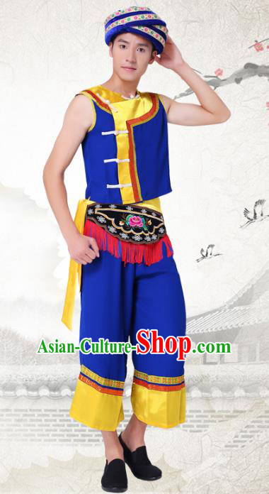 Traditional Chinese Tujia Nationality Dance Costume and Headwear Tujia Ethnic Minority Embroidery Clothing for Men