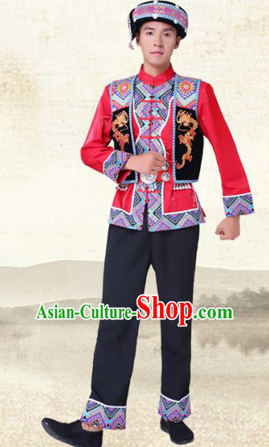 Traditional Chinese National Minority Red Costumes and Headwear Tujia Ethnic Minority Embroidery Clothing for Men