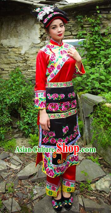 Traditional Chinese Qiang Nationality Dance Costume and Headwear, Female Ethnic Pleated Skirt Minority Embroidery Clothing for Women