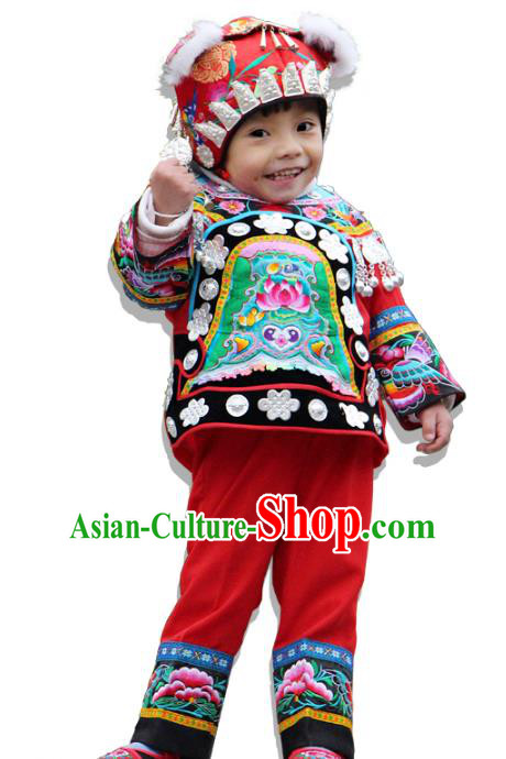 Traditional Chinese Miao Nationality Dance Costume and Headwear, Children Ethnic Pleated Skirt Minority Embroidery Clothing for Kids