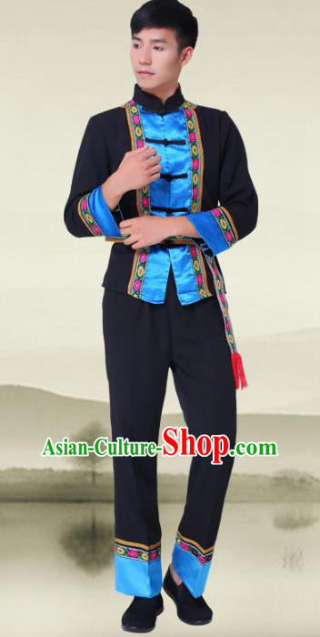 Traditional Chinese Miao National Minority Costumes, Hmong Ethnic Minority Embroidery Clothing for Men
