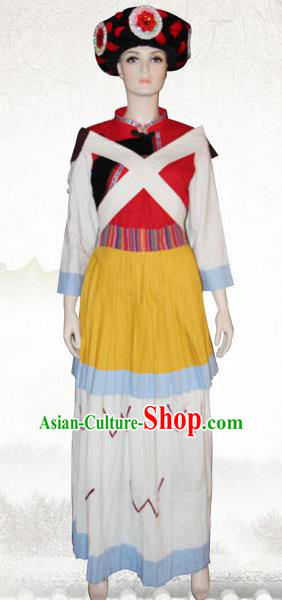 Traditional Chinese Naxi Nationality Dance Costume and Headwear, Nakhi Ethnic Pleated Skirt Minority Embroidery Clothing for Women