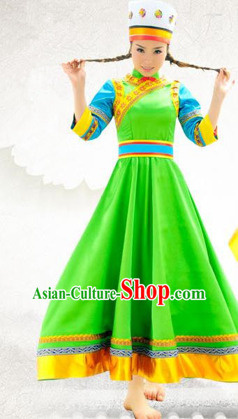 Traditional Chinese Daur Nationality Dance Costume, China Ethnic Minority Embroidery Green Dress Clothing and Headdress for Women
