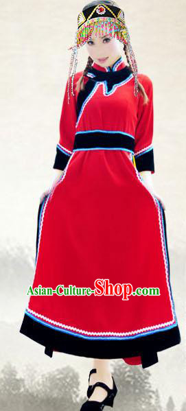 Traditional Chinese Oroqen Nationality Dance Costume, China Olunchun Ethnic Minority Clothing and Headdress for Women