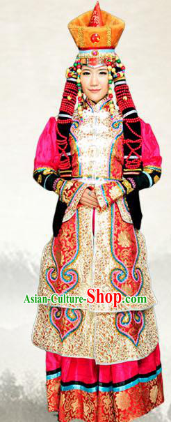 Traditional Chinese Mongol Nationality Dance Costume, China Mongolian Queen Ethnic Minority Embroidery Clothing and Headdress for Women