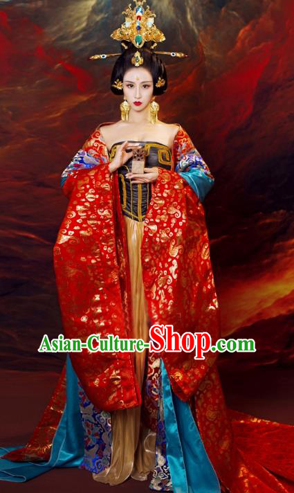Chinese Ancient Imperial Empress Hanfu Dress Tang Dynasty Queen Embroidered Replica Costume and Headpiece for Women