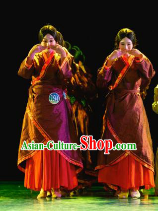 Traditional Chinese Folk Dance Hanfu Costume, China Classical Dance Clothing for Women