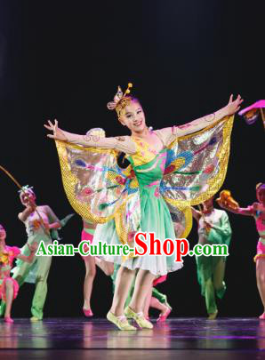 Traditional Chinese Folk Dance Costume, Children Classical Dance Butterfly Dress Clothing for Kids