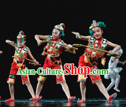 Traditional Chinese Minority Folk Dance Costume, Children Classical Dance Ethnic Dress Clothing for Kids