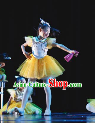 Traditional Chinese Folk Dance Costume, Children Classical Dance Yellow Veil Dress Clothing for Kids