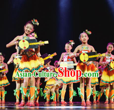 Traditional Chinese Dong Minority Folk Dance Costume, Children Yanko Dance Dress Clothing for Kids