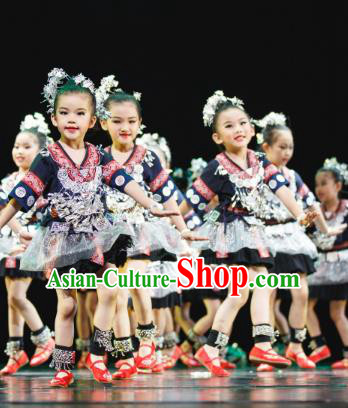 Traditional Chinese Tujia Nationality Dance Folk Dance Costume, Children Classical Dance Dress Clothing for Kids
