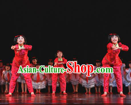 Traditional Chinese New Year Folk Dance Costume, Children Classical Dance Yangge Dress Clothing for Kids