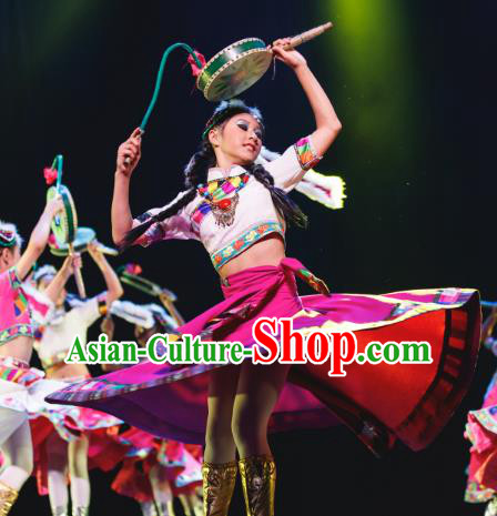 Traditional Chinese National Minority Folk Dance Costume, Children Classical Dance Yangge Clothing for Kids