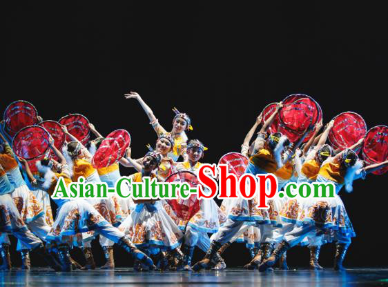 Traditional Chinese National Minority Folk Dance Costume, Children Mongolian Classical Dance Yangge Clothing for Kids