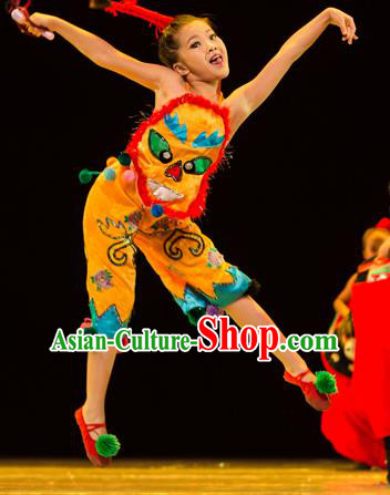 Traditional Chinese Yangko Folk Dance Costume, Children Classical Dance Yangge Clothing for Kids