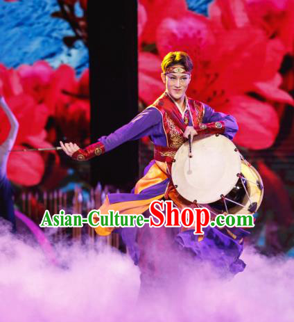 Traditional Chinese Folk Dance Embroidered Costume, China Ethnic Minority Dance Clothing for Men