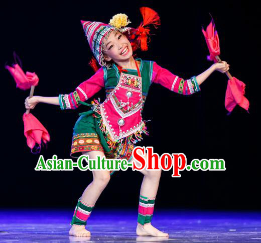 Chinese Traditional Folk Dance Ethnic Costume, Children Jino National Minority Classical Dance Clothing for Kids