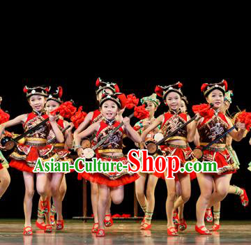Chinese Traditional Folk Dance Ethnic Costume, Children Yao National Minority Classical Dance Clothing for Kids