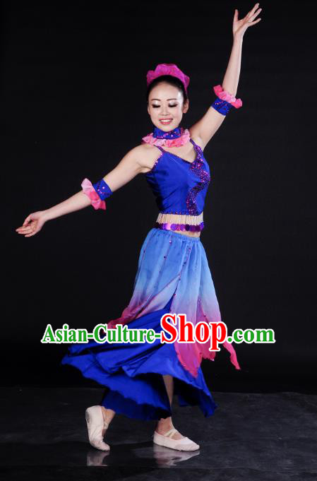 Traditional Chinese Folk Dance Umbrella Dance Costume, China Yangko Classical Dance Blue Dress Clothing for Women