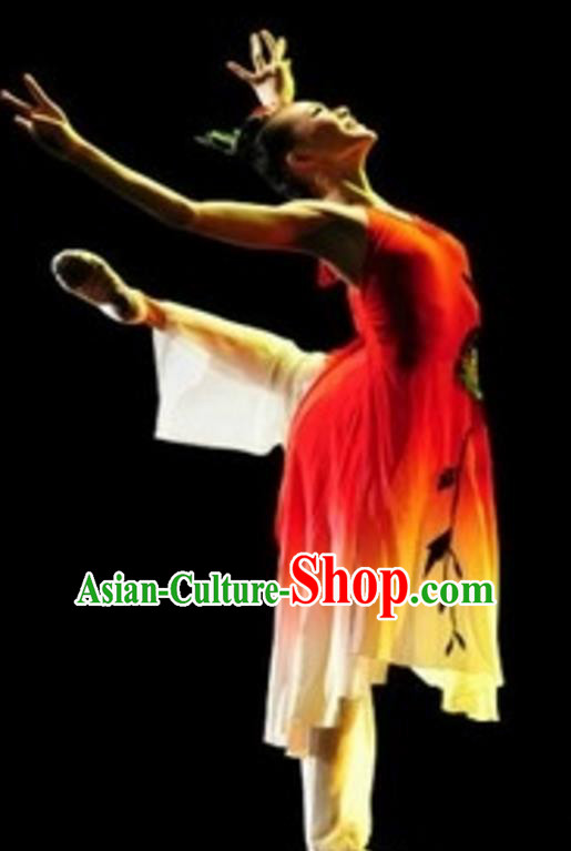 Traditional Chinese Classical Dance Costume, Folk Dance Umbrella Dance Clothing for Women
