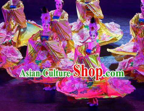 Traditional Chinese Classical Dance Costume, Folk Dance Peony Dance Clothing for Women