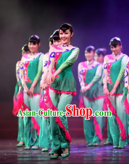 Traditional Chinese Classical Dance Costume, China Folk Dance Yangko Umbrella Dance Dress Clothing for Women