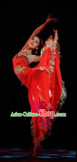 Traditional Chinese Classical Dance Dai Minority Nationality Costume, China Stage Performance Dress Clothing for Women