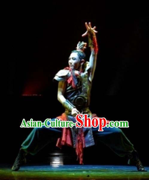 Traditional Chinese Folk Dance Stage Performance Costume, China Ancient Dance Clothing for Men