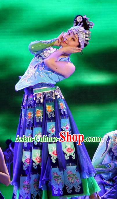 Chinese Traditional Folk Dance Stage Performance Costume, China Classical Dance Ethnic Minority Dress Clothing for Women