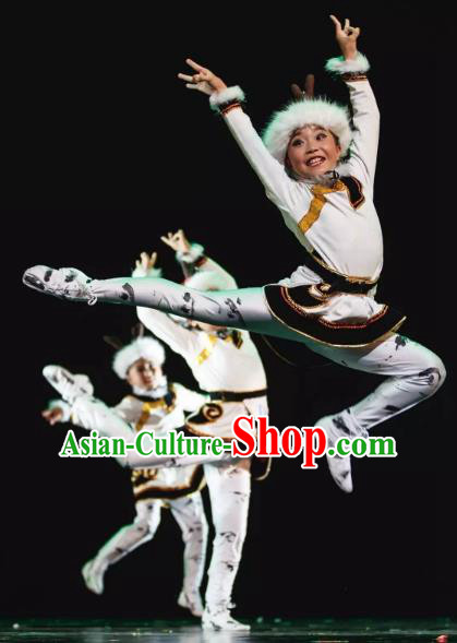 Chinese Traditional Stage Performance Costume, China Mongol Nationality Folk Dance Clothing for Children