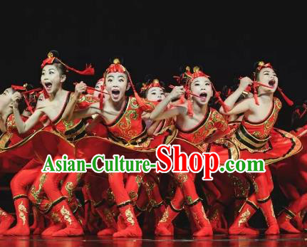 Chinese Traditional Mongol Ethnic Stage Performance Costume, China Nationality Folk Dance Clothing for Children