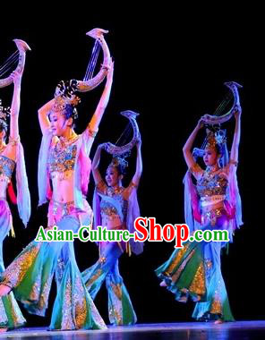 Chinese Traditional Folk Dance Costume Classical Dance Dress, China Dunhuang Fairy Stage Performance Clothing for Women