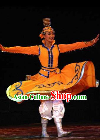 Chinese Traditional Folk Dance Mongol Nationality Costume, China Classical Dance Dress Stage Performance Clothing for Women