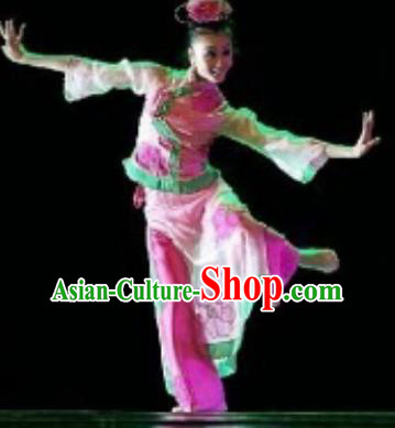 Chinese Traditional Folk Dance Fan Dance Costume Yangko Dance Dress Stage Performance Clothing for Women