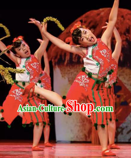 Chinese Traditional Yangge Stage Performance Costume, China Folk Dance Yangko Clothing for Children