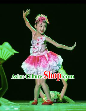Chinese Traditional Yangge Stage Performance Costume, China Folk Dance Lotus Dance Clothing for Children
