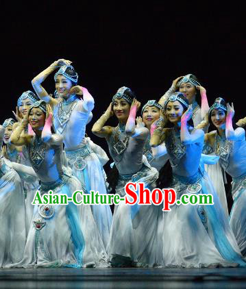 Chinese Traditional Folk Dance Costume Classical Dance Blue Dress, China Stage Performance Clothing for Women